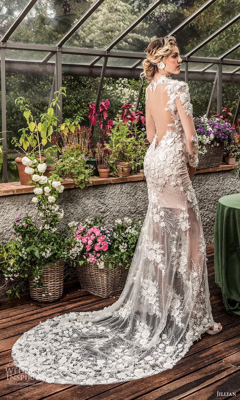 jillian 2022 bridal sheer long sleeve plunging v neckline fully embellished lace sheath wedding dress chapel train (12) bv