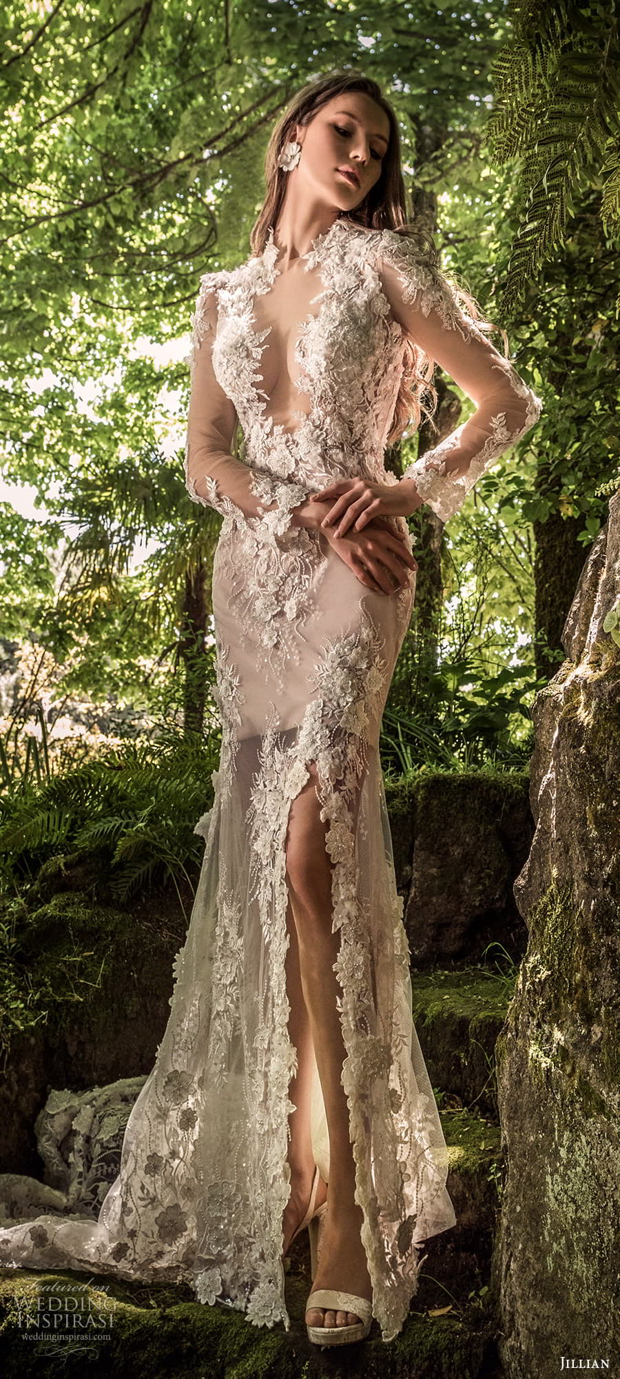 jillian 2022 bridal sheer long sleeve plunging v neckline fully embellished sheath wedding dress chapel train (19) mv