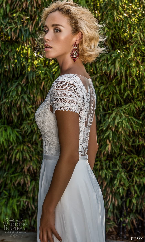 jillian 2022 bridal short sleeve v neckline embellished lace a line wedding dress chapel train (11) zbv