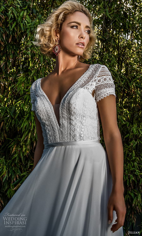 jillian 2022 bridal short sleeve v neckline embellished lace a line wedding dress chapel train (11) zv