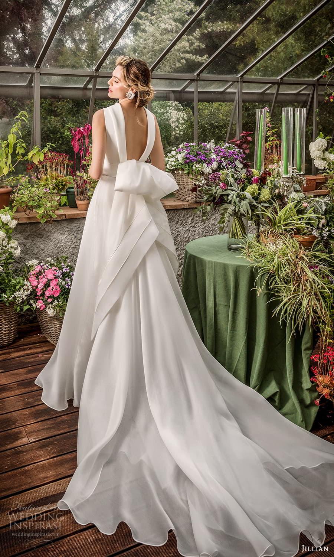 jillian 2022 bridal sleeveless funnel neckline clean minimalist a line wedding dress chapel train (17) bv