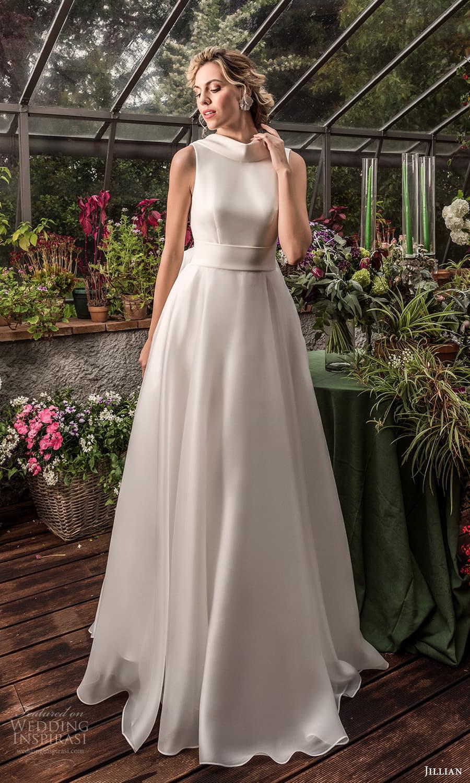 jillian 2022 bridal sleeveless funnel neckline clean minimalist a line wedding dress chapel train (17) mv