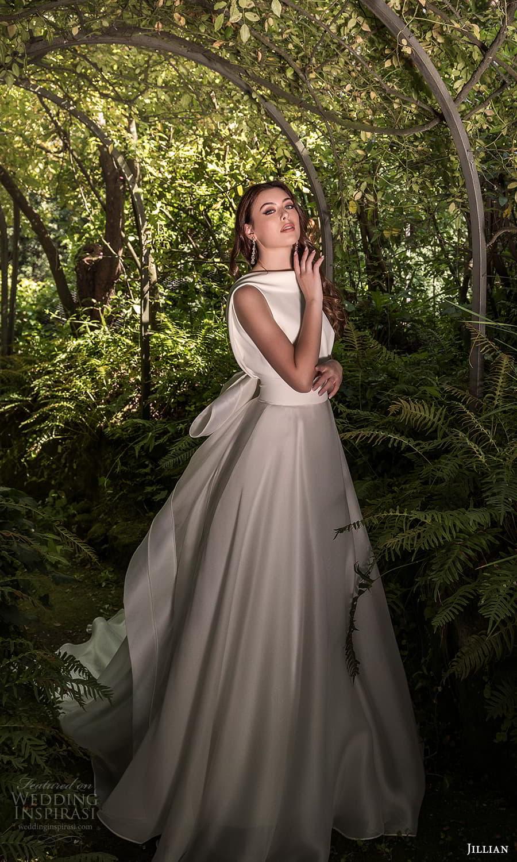 jillian 2022 bridal sleeveless funnel neckline clean minimalist a line wedding dress chapel train (17) sv