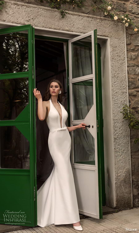 jillian 2022 bridal sleeveless halter neckline clean minimalist sheath fit flare mermaid wedding dress chapel train (19) mv