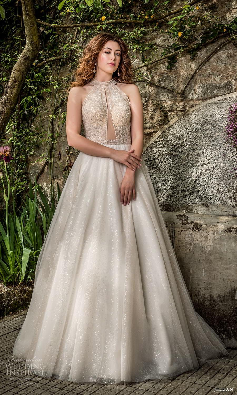 jillian 2022 bridal sleeveless halter neckline embellished bodice a line ball gown wedding dress chapel train (21) mv