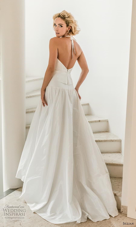 jillian 2022 bridal sleeveless halter necklnie clean minimalist drop waist a line wedding dress (10) bv