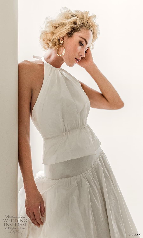 jillian 2022 bridal sleeveless halter necklnie clean minimalist drop waist a line wedding dress (10) mv