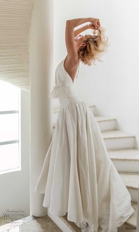 jillian 2022 bridal sleeveless halter necklnie clean minimalist drop waist a line wedding dress (10) sv
