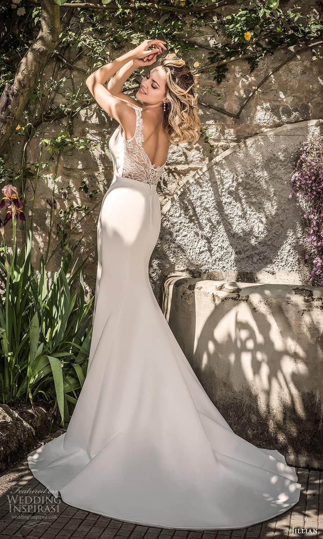 jillian 2022 bridal sleeveless jewel neckline clean minimalist sheath wedding dress chapel train (23) bv