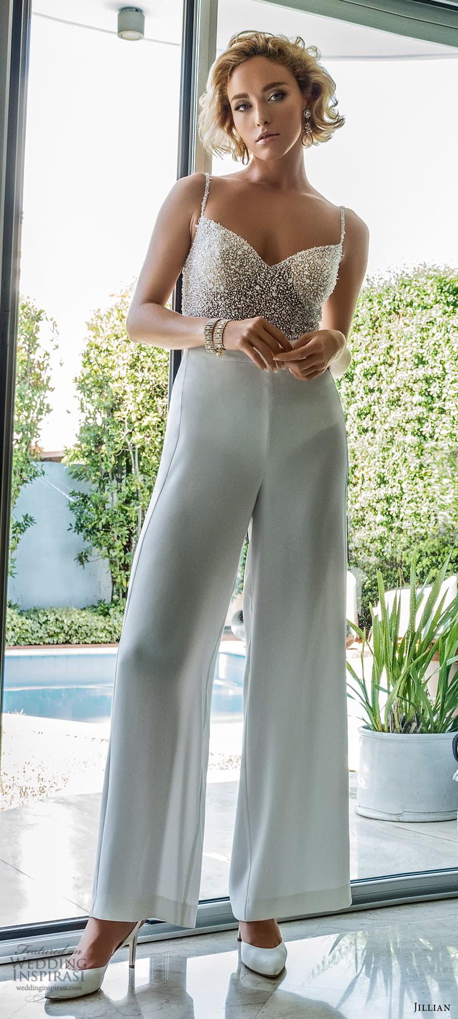 jillian 2022 bridal sleeveless straps sweetheart neckline heavily embellished top bodysuit pants trouser wedding dress (3) mv