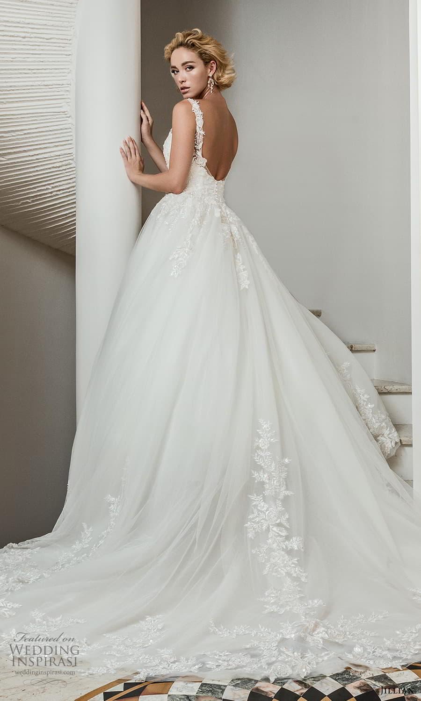 jillian 2022 bridal sleeveless straps v neckline embellished bodice a line ball gown wedding dress chapel train (4) bv