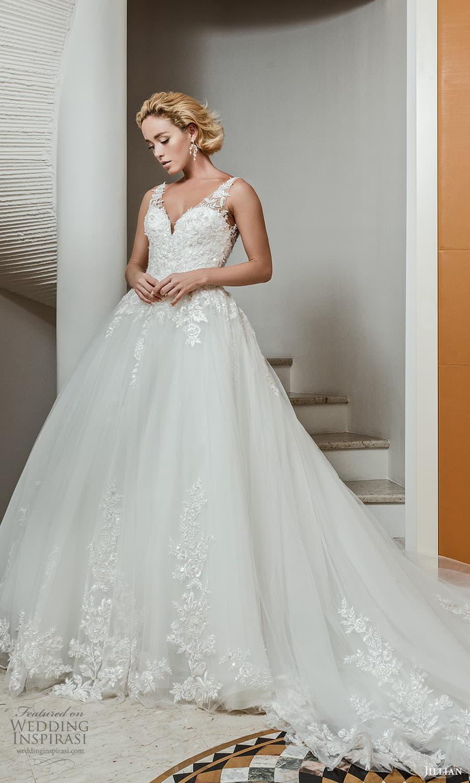 jillian 2022 bridal sleeveless straps v neckline embellished bodice a line ball gown wedding dress chapel train (4) mv