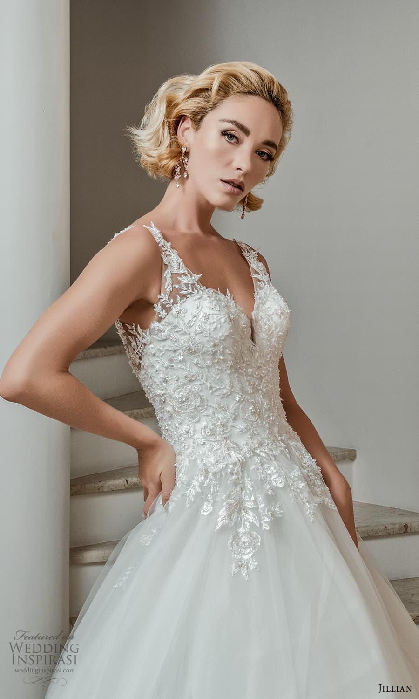 jillian 2022 bridal sleeveless straps v neckline embellished bodice a line ball gown wedding dress chapel train (4) zv