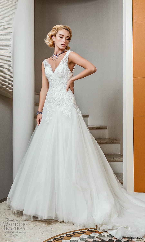 jillian 2022 bridal sleeveless straps v neckline embellished bodice modified a line wedding dress chapel train (8) mv
