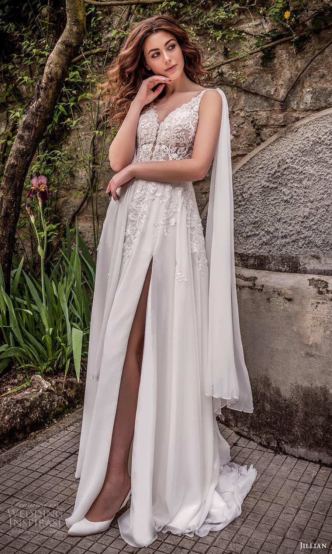 jillian 2022 bridal sleeveless straps v necklnie embellished bodice a line wedding dress cape chapel train (15) mv