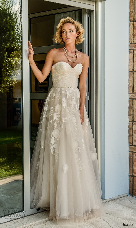 jillian 2022 bridal strapless sweetheart neckline fully embellished lace a line ball gown wedding dress chapel train (2) mv