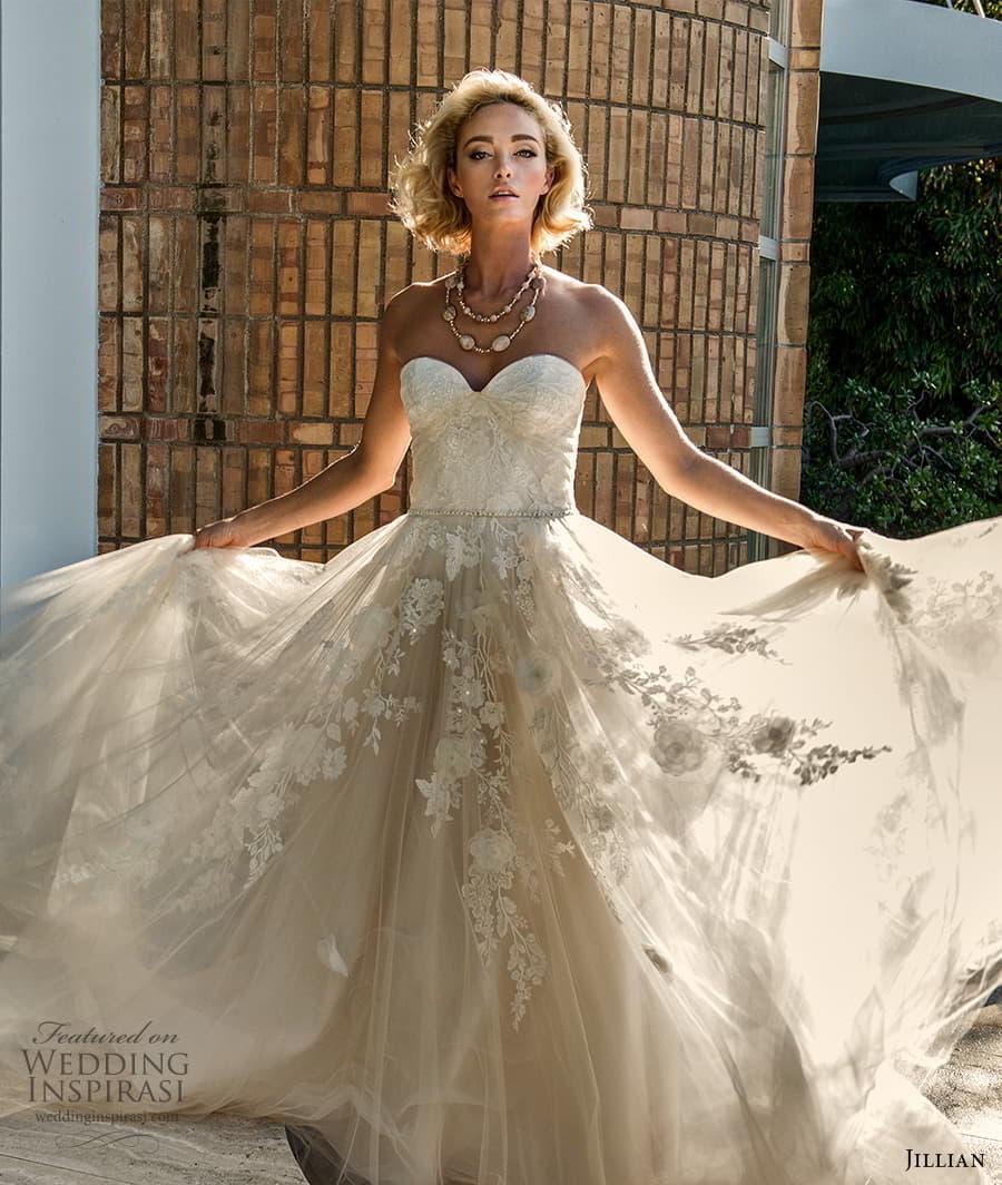 jillian 2022 bridal strapless sweetheart neckline fully embellished lace a line ball gown wedding dress chapel train (2) zv