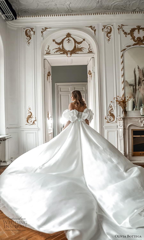 olivia bottega 2022 capsule bridal detached puff sleeve strapless sweetheart neckline embellished bodice clean skirt a line wedding dress chapel train (6) bv