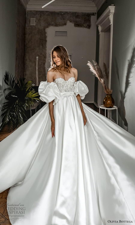 olivia bottega 2022 capsule bridal detached puff sleeve strapless sweetheart neckline embellished bodice clean skirt a line wedding dress chapel train (6) fv