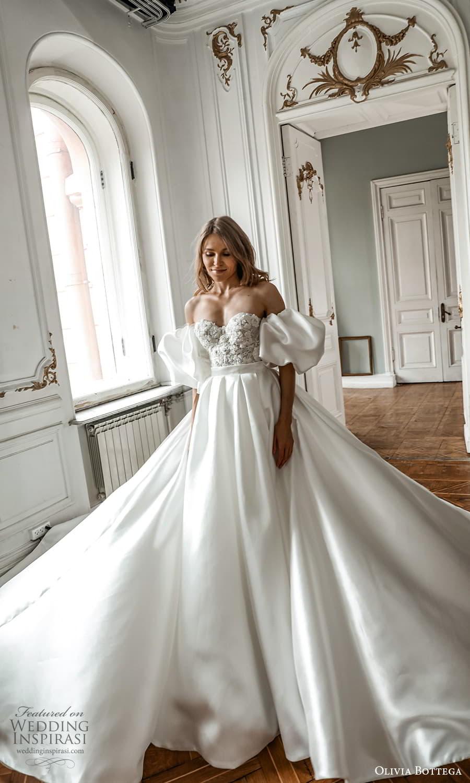 olivia bottega 2022 capsule bridal detached puff sleeve strapless sweetheart neckline embellished bodice clean skirt a line wedding dress chapel train (6) mv