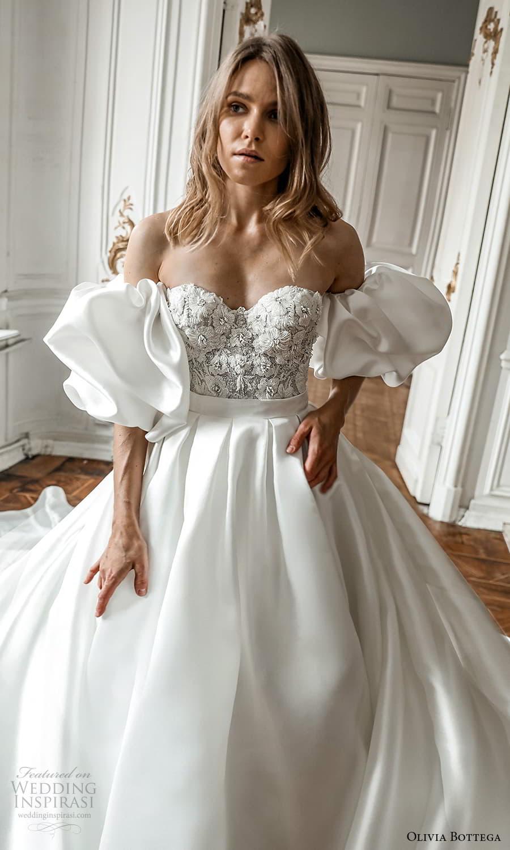 olivia bottega 2022 capsule bridal detached puff sleeve strapless sweetheart neckline embellished bodice clean skirt a line wedding dress chapel train (6) zv