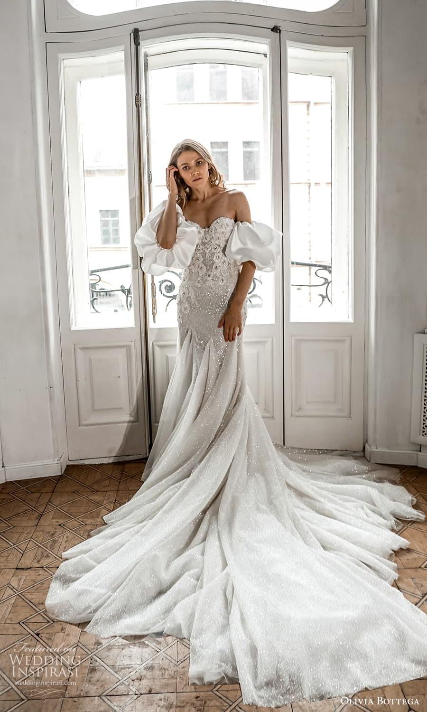 olivia bottega 2022 capsule bridal detached puff sleeves strapless sweetheart neckline embellished fit flare wedding dress chapel train (3) fv
