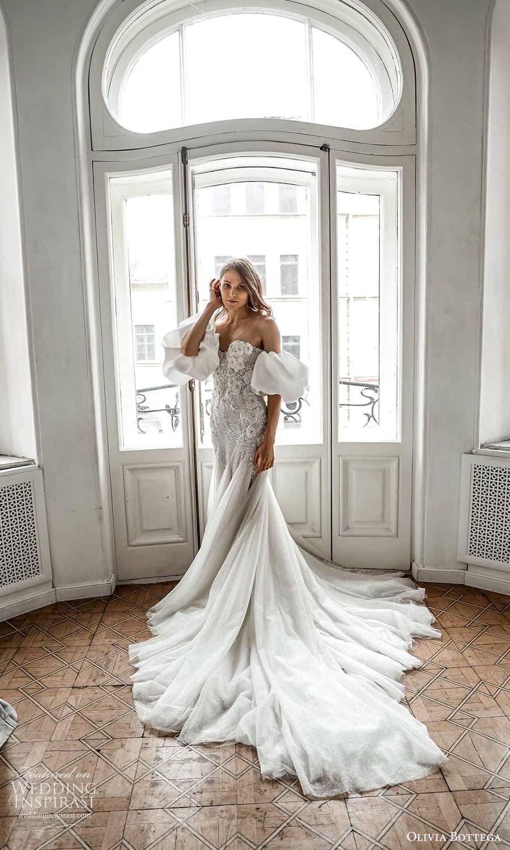 olivia bottega 2022 capsule bridal detached puff sleeves strapless sweetheart neckline embellished fit flare wedding dress chapel train (3) mv