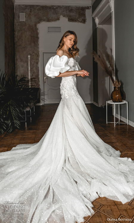 olivia bottega 2022 capsule bridal detached puff sleeves strapless sweetheart neckline embellished fit flare wedding dress chapel train (3) sv