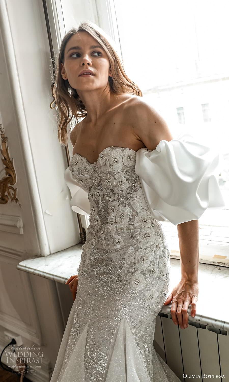 olivia bottega 2022 capsule bridal detached puff sleeves strapless sweetheart neckline embellished fit flare wedding dress chapel train (3) zv