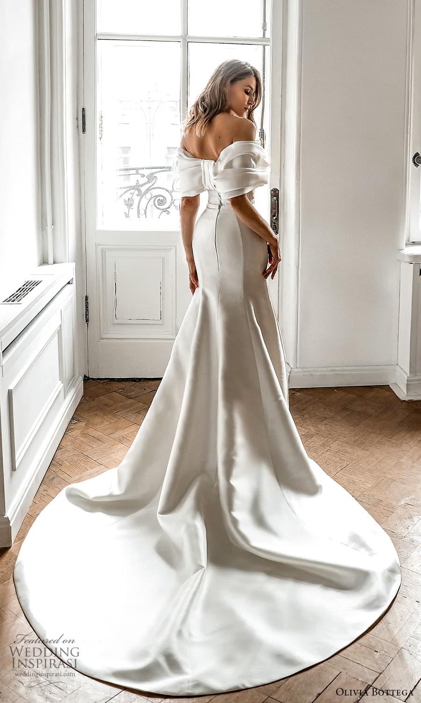 olivia bottega 2022 capsule bridal elbow length sleeve off shoulder neckline ruched bodice clean minimalist sheath wedding dress chapel train (7) bv