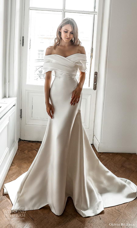 olivia bottega 2022 capsule bridal elbow length sleeve off shoulder neckline ruched bodice clean minimalist sheath wedding dress chapel train (7) mv