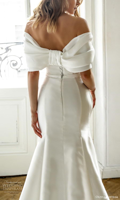 olivia bottega 2022 capsule bridal elbow length sleeve off shoulder neckline ruched bodice clean minimalist sheath wedding dress chapel train (7) zbv