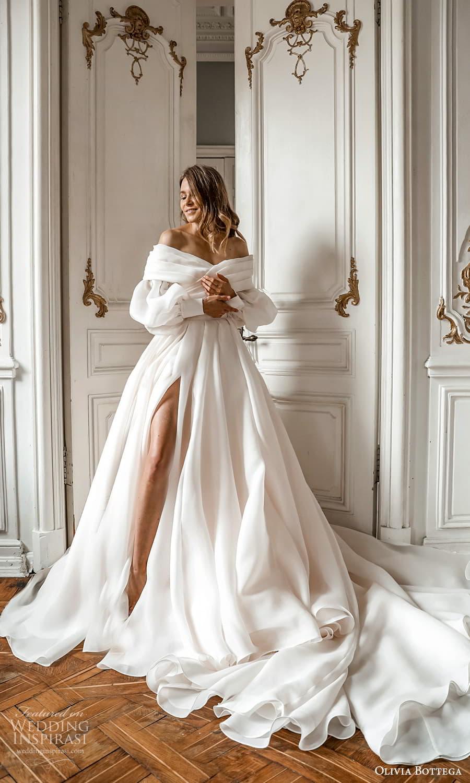 olivia bottega 2022 capsule bridal long bishop puff sleeve off shoulder surplice neckline a line ball gown wedding dress chapel train (5) mv