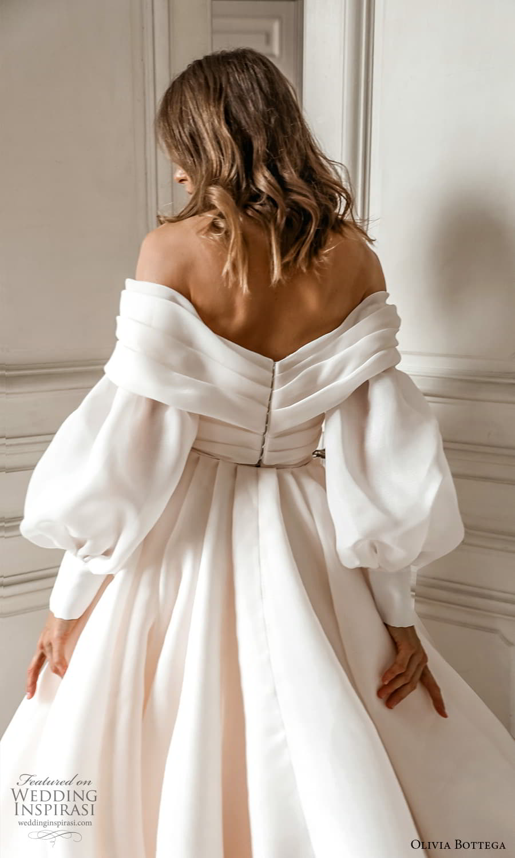 olivia bottega 2022 capsule bridal long bishop puff sleeve off shoulder surplice neckline a line ball gown wedding dress chapel train (5) zbv
