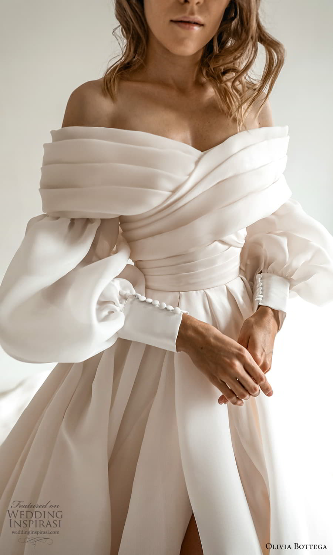 olivia bottega 2022 capsule bridal long bishop puff sleeve off shoulder surplice neckline a line ball gown wedding dress chapel train (5) zv