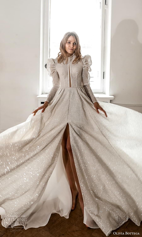 olivia bottega 2022 capsule bridal long puff sleeve high neckline fully embellished a line ball gown wedding dress chapel train (2) fv