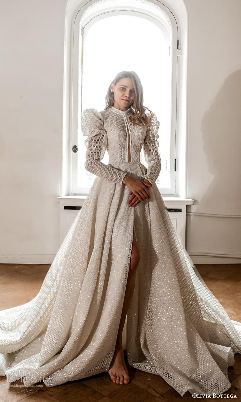 olivia bottega 2022 capsule bridal long puff sleeve high neckline fully embellished a line ball gown wedding dress chapel train (2) mv