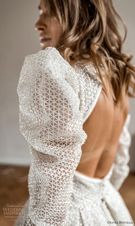 olivia bottega 2022 capsule bridal long puff sleeve high neckline fully embellished a line ball gown wedding dress chapel train (2) zbv