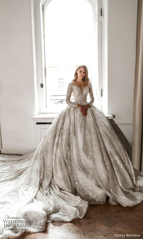 olivia bottega 2022 capsule bridal long sleeve off shoulder fully embellished a line ball gown wedding dress cathedral train (4) fv