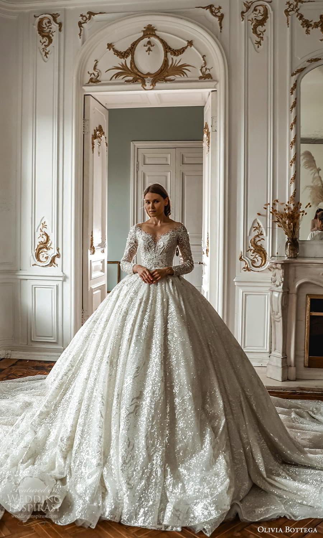olivia bottega 2022 capsule bridal long sleeve off shoulder fully embellished a line ball gown wedding dress cathedral train (4) mv