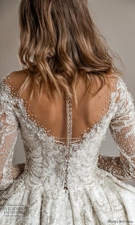 olivia bottega 2022 capsule bridal long sleeve off shoulder fully embellished a line ball gown wedding dress cathedral train (4) zbv