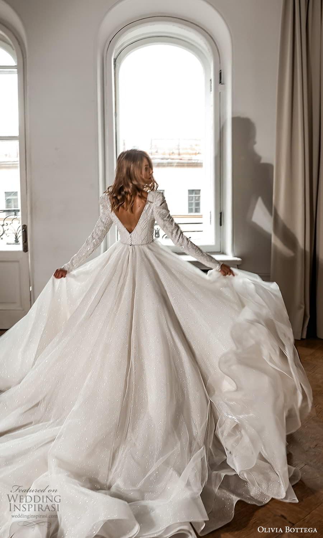 olivia bottega 2022 capsule bridal long sleeve v neckline embellished bodice clean skirt a line ball gown wedding dress chapel train (9) bv