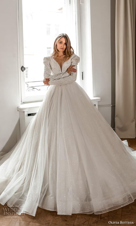 olivia bottega 2022 capsule bridal long sleeve v neckline embellished bodice clean skirt a line ball gown wedding dress chapel train (9) fv