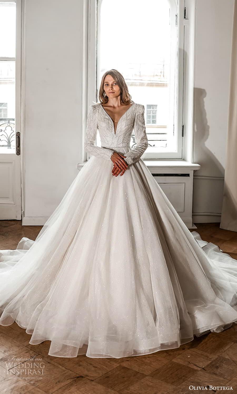 olivia bottega 2022 capsule bridal long sleeve v neckline embellished bodice clean skirt a line ball gown wedding dress chapel train (9) mv