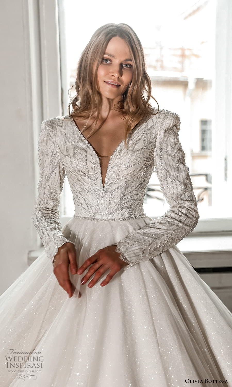 olivia bottega 2022 capsule bridal long sleeve v neckline embellished bodice clean skirt a line ball gown wedding dress chapel train (9) zv