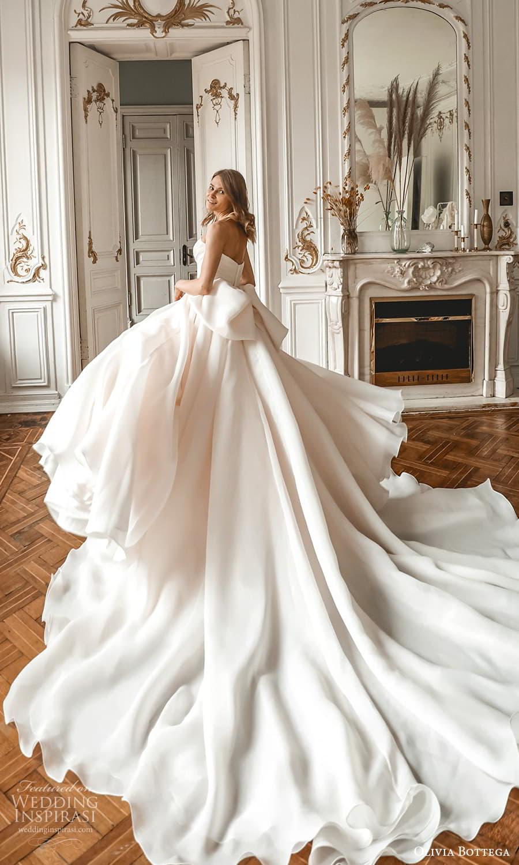 olivia bottega 2022 capsule bridal strapless sweetheart neckline ruched bodice a line ball gown wedding dress chapel train slit skirt (1) bv