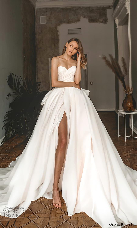 olivia bottega 2022 capsule bridal strapless sweetheart neckline ruched bodice a line ball gown wedding dress chapel train slit skirt (1) mv