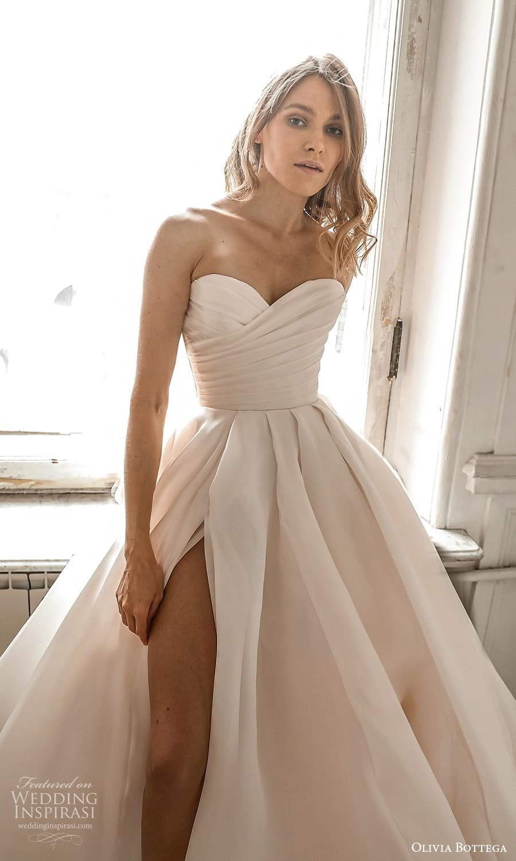olivia bottega 2022 capsule bridal strapless sweetheart neckline ruched bodice a line ball gown wedding dress chapel train slit skirt (1) zv