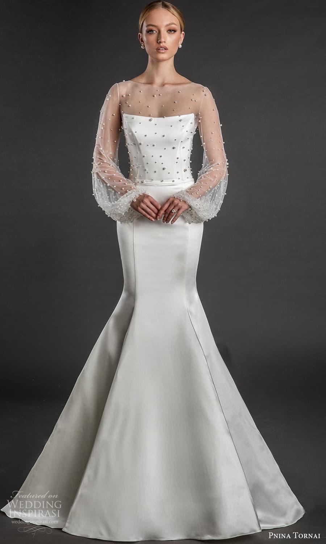 pnina tornai 2022 love bridal illusion bishop sleeve top strapless straight across neckline clean minimalist fit flare mermaid wedding dress chapel train (11) mv