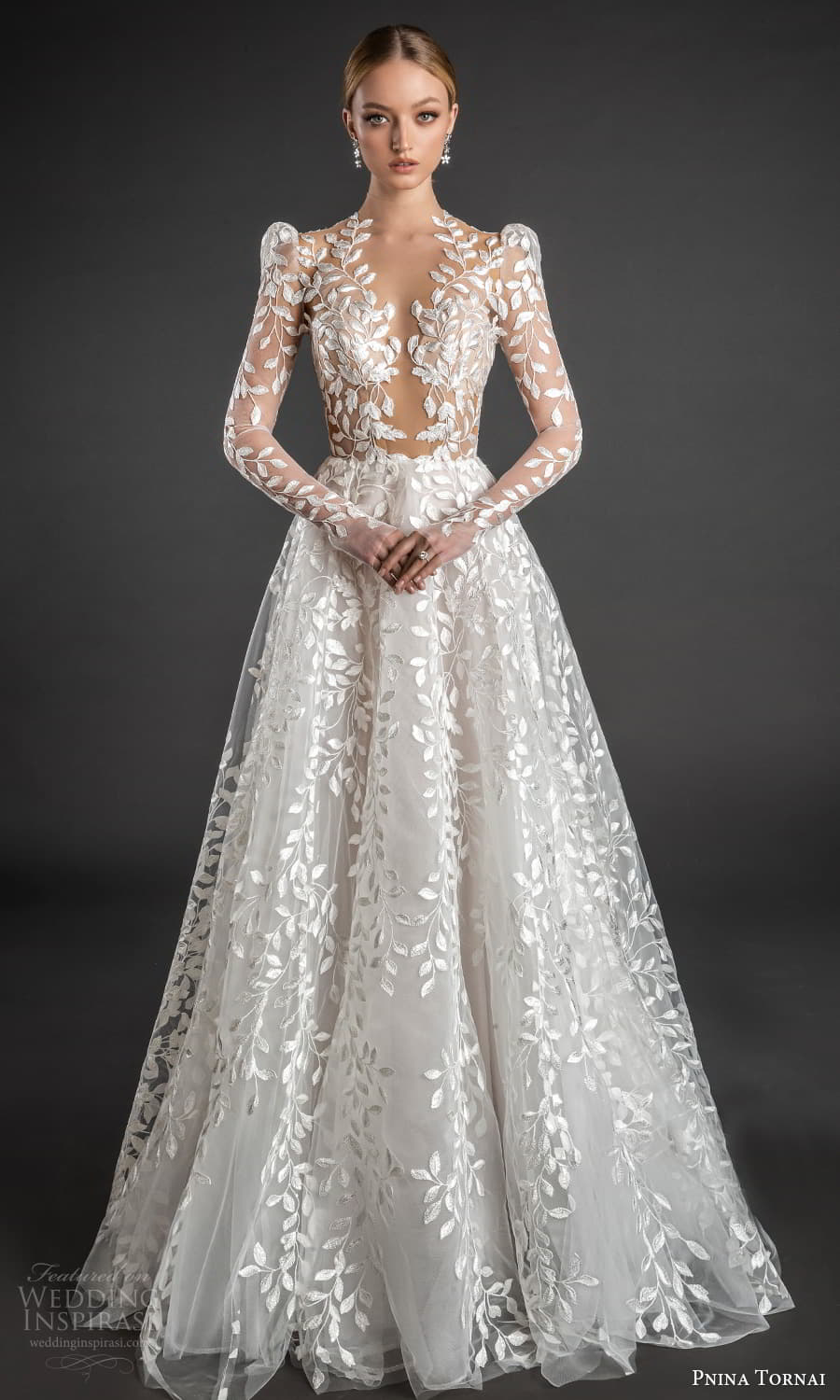 pnina tornai 2022 love bridal long puff sleeve plunging v neckline fully embellished lace a line ball gown wedding dress chapel train (1) fv